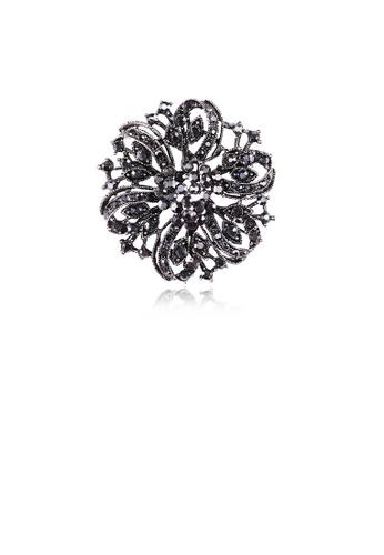 Glamorousky black Fashion and Elegant Geometric Flower Brooch with Black Cubic Zirconia B71A8ACA6477A9GS_1