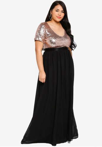 Plus Size V Neckline Sequin & Chiffon Maxi Dress