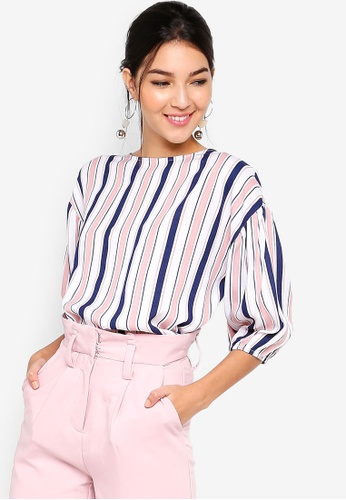 ZALORA pink and multi Puff Sleeves Blouse 3F306AA3F198C9GS_1