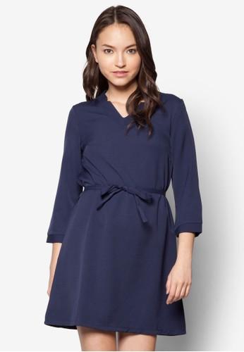Malika 腰帶七分袖esprit 京站洋裝, 服飾, 洋裝