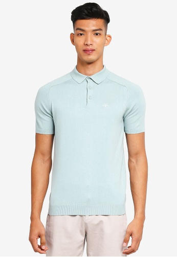 River Island 綠色 Ashcroft Slim Polo Shirt 17C9AAAF857552GS_1