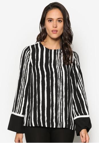 WAREHOUSE black Torn Stripe Top WA653AA33SKWMY_1