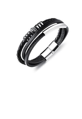 Glamorousky silver Fashion Vintage 316L Stainless Steel Geometric Pattern Leather Multi-layer Bracelet B74C6AC8718258GS_1