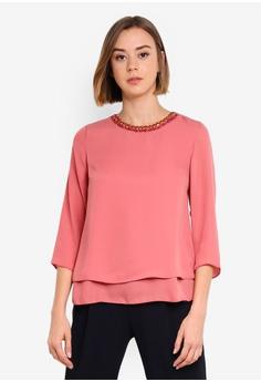 232bddf0 Dorothy Perkins pink Rose Jewel Neck 3/4 Top 74E38AADAD9324GS_1