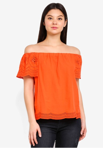 Dorothy Perkins orange Bright Orange Brodeire Bardot Top 15C51AAB264618GS_1