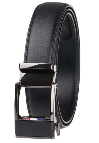 FANYU black Leather Dress Belt With Automatic Buckle belt D0A62AC14A2277GS_1
