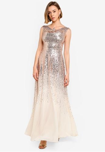 9c161b47e Buy Goddiva Pleated Bodice Sequin And Chiffon Maxi Dress | ZALORA HK