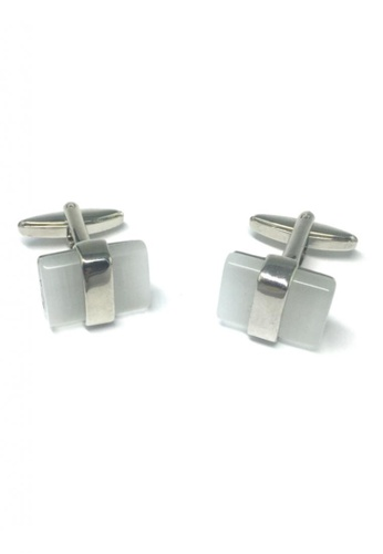 Splice Cufflinks white and silver Pearl White Gem Cufflinks SP744AC40FSDSG_1