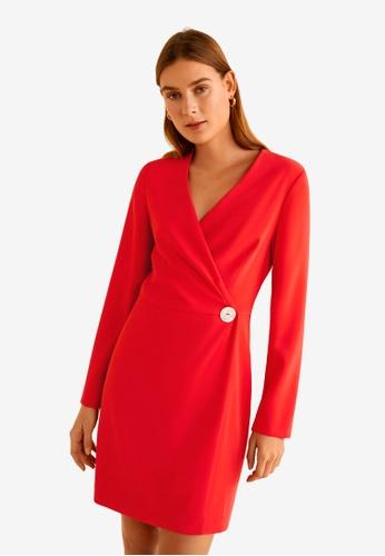 Mango 紅色 綁帶洋裝 85A6DAA7DBAFF1GS_1