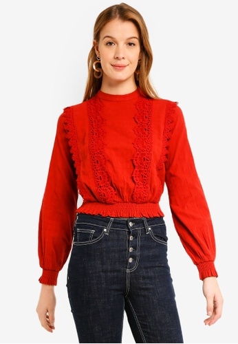 Miss Selfridge red Check Lace Victorian Top 9C290AA1E2F5FEGS_1