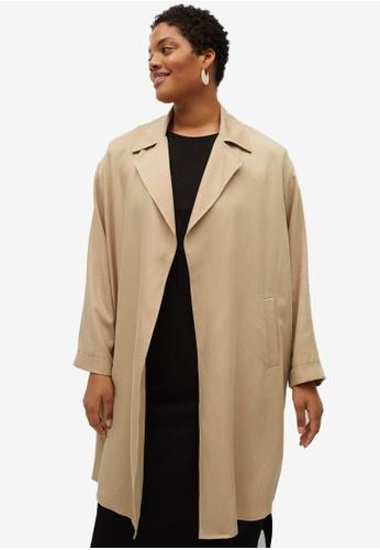 Violeta by MANGO beige Plus Size Lyocell Flowy Trench Coat 00A76AAF4C4207GS_1