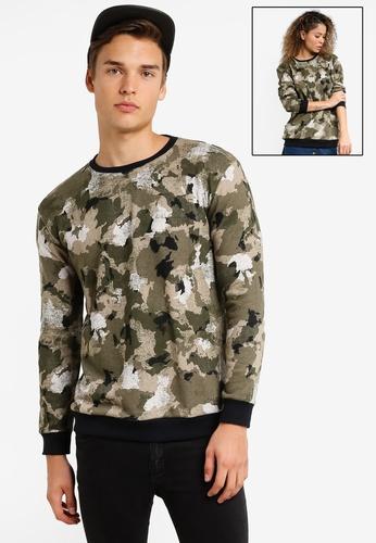 UniqTee green and multi Army Paint Splat Sweatshirt UN097AA14WMFMY_1