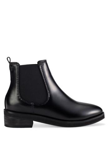 側彈性帶騎士zalora 衣服尺寸短靴, 女鞋, 鞋