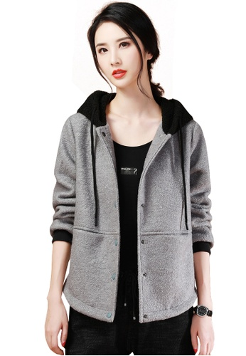 A-IN GIRLS black and grey Colorblock Hooded Woolen Coat 17C98AA498202FGS_1