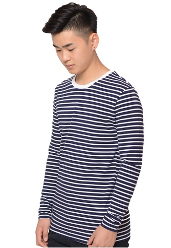 Praise navy Stripes Long Sleeves Tee PR067AA0GZ48SG_1