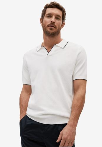MANGO Man white Knit Contrast Trim Polo Shirt 44E37AAF72348CGS_1