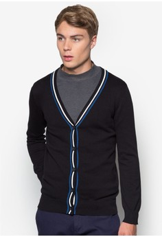 V-Neck Cardigan With Contrast Stripes