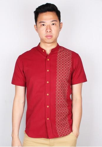 Moley red Oriental Rings Print Mandarin Collar Short Sleeve Shirt 3A899AABE6EFBEGS_1