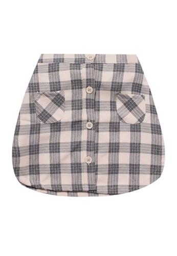 Tiny Button brown Girl Square Tartan Skirt 48CB3KA7FCEF7CGS_1