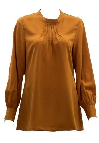 Ashura brown Aufa Blouse With Pleat Detailing (Plus size) 3C0E3AAE6B6383GS_1