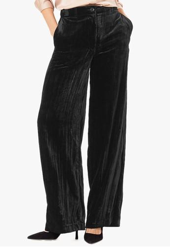 MARKS & SPENCER black Velvet Wide Leg Trousers 08537AAD0D2100GS_1