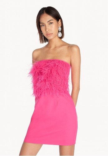 Pomelo pink Strapless Feathered Bodycon Dress - Pink 8BC87AAAE33BEFGS_1