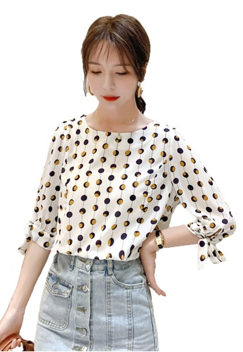 Halo white Printed 1/2 Sleeves Tops C39A6AA83D3995GS_1