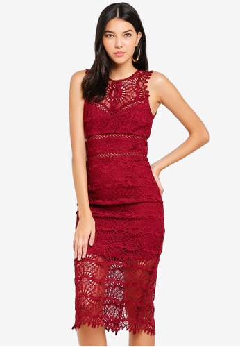 Bardot red Mariano Lace Dress 6AD51AAD234389GS_1