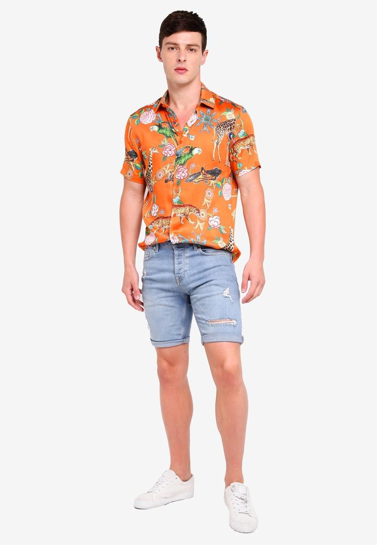 Orange Print Topman Short Red Animal Shirt Sleeve fqnYT