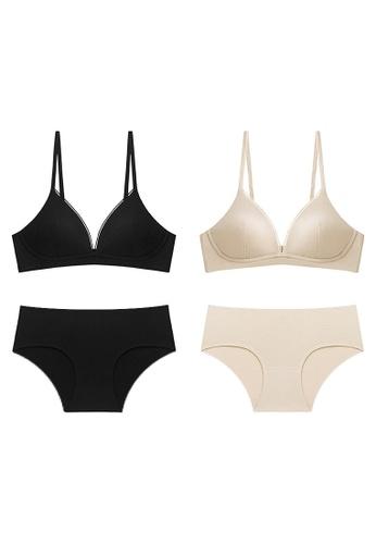 K.Excellence beige Premium Comforn Black&beige Lingerie Set (Bra and Underwear) 68BD2USBFF0987GS_1