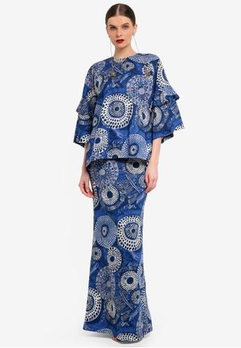 Rizalman for Zalora white and blue Rama Traditional Kurung RI909AA0SEYDMY_1