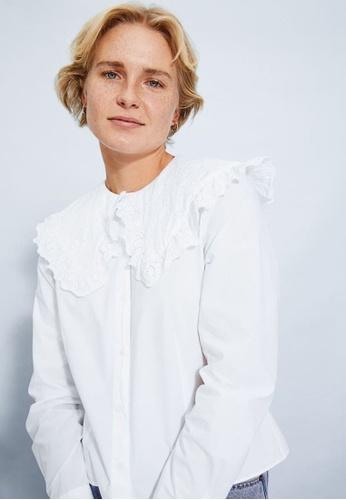 H&M white Frill-Collared Shirt CDF99AA67B746EGS_1