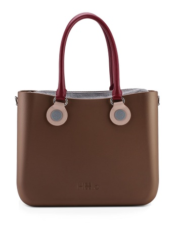 Hoola Hoola brown Alma Tote Classic - Bronze with Bordeaux & Dusty Pink handles 91DDDAC918A74EGS_1