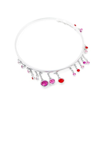 Glamorousky red Enchanting Bangle with Pink and Red Austrian Element Crystals 2C2E6AC79086EBGS_1