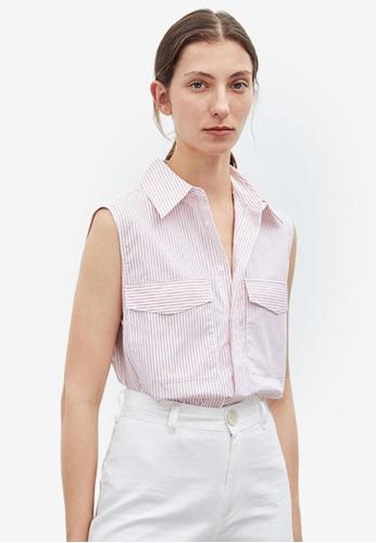 Urban Revivo red Striped Sleeveless Shirt 37BABAAE706DC0GS_1