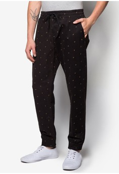 Printed Pants with Drawstring Details