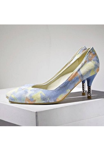 Sunnydaysweety blue and multi Women's High-heeled  Shoes Pointed Printing C032721BL SU443SH07HLKHK_1