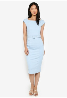 8629009a Dorothy Perkins blue Blue Belted Pencil Dress 2BE2AAAEFCBE6FGS_1
