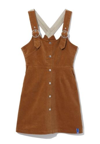 tout à coup brown Corduroy pinafore dress 73CDEAA5EAD815GS_1