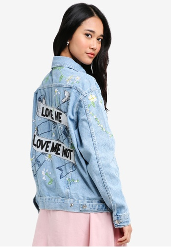 TOPSHOP blue 'Love Me Not' Embroidered Denim Jacket 9B792AAA9545D2GS_1