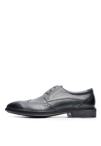 輕esprit china量頭層打蠟牛皮。越野雕孔刷底皮鞋-04522-煙灰, 鞋, 皮鞋