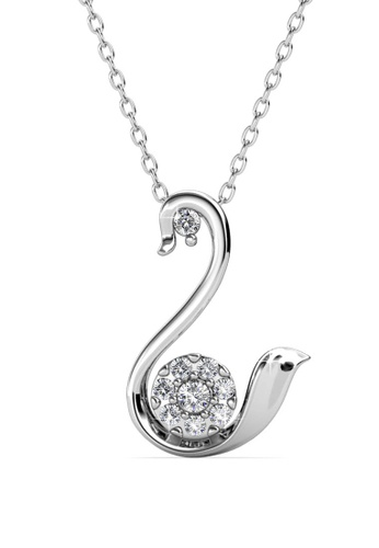 Her Jewellery silver Swan Love Pendant - Licensed Genuine Crystals from Swarovski® HE581AC0RVT1MY_1