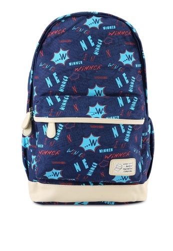 Bagstationz navy Printed Canvas Laptop Backpack BA607AC0S0FSMY_1