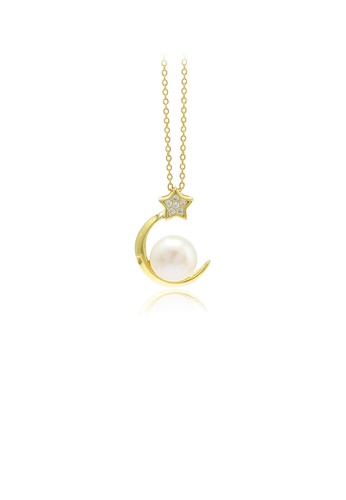 Glamorousky white 925 Sterling Silver Plated Gold Fashion Simple Moon Star Freshwater Pearl Pendant with Cubic Zirconia and Necklace 7EB59AC1968D5AGS_1