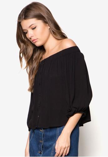 露肩七分袖上衣,zalora時尚購物網的koumi koumi 服飾, 上衣