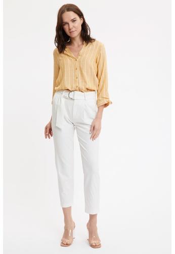 DeFacto 黃色 Long Sleeve Viscose Shirt A7DA4AABE1E2DFGS_1