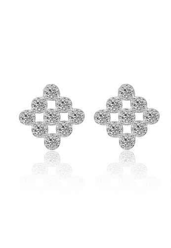 LYCKA silver LFF5214-LYCKA-S925 Siliver White Zircon Trendy Square Cube Earrings-Silver 3CBD7AC701B744GS_1