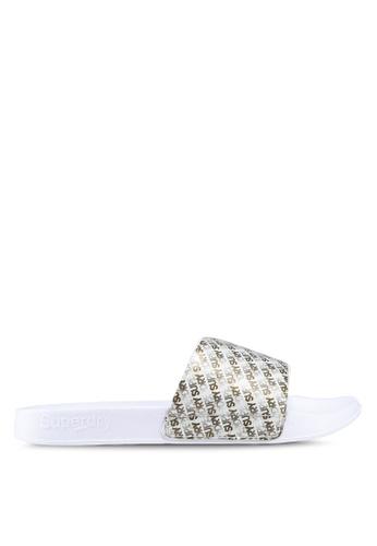 Superdry 白色 LOGO印花拖鞋 3644BSH7F904ACGS_1