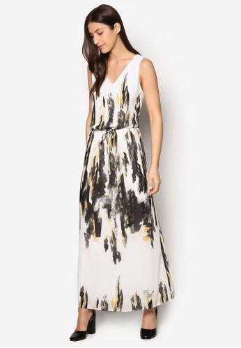 Ebba 印花腰esprit專櫃飾長洋裝, 服飾, 洋裝