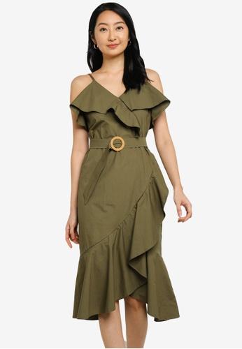 ZALORA BASICS 綠色 Ruffle Detail Fake Wrap Dress 90A6FAAC01C738GS_1